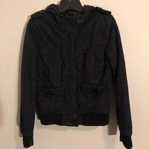 Black Plaid Cropped Winter Coat